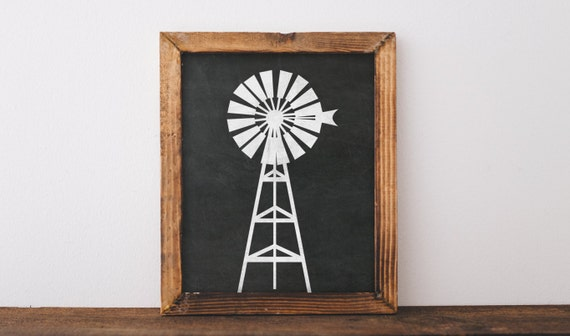 Farmhouse Printable Chalkboard Windmill wall by TheHappyPioneer