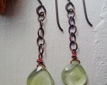 Prehnite, Copper, and Hypoallergenic Niobium Dangle Earrings
