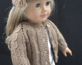 Brown Cable Sweater and Hat