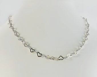 "Sterling Heart Necklace - Milor Sterling Necklace - Open Heart 18"" Necklace - Silver Heart Necklace - Sterling Heart Chain"