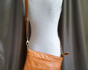 Caramel and Dark Chocolate Brown Crossbody Purse Handmade from Upcycled Leather Coats
