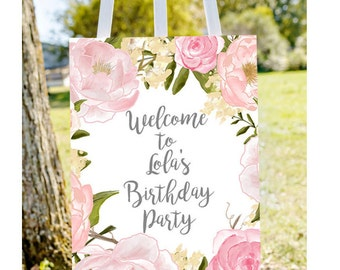 Birthday welcome sign, Welcome to birthday sign, welcome to party sign, pastel birthday sign, first birthday sign, printable welcome sign