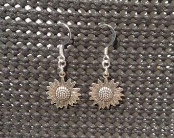 Handmade Silver Sunflower Earrings