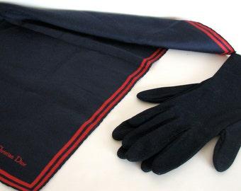 Vintage Gloves and Scarf Christian Dior Navy Blue Set Designer Gloves and Pocket Square