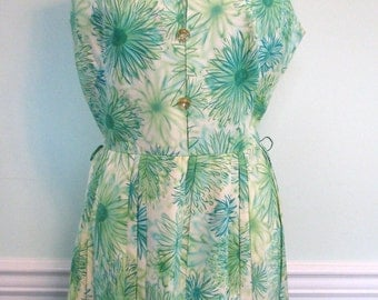 1950s Green and Aqua Dress Mode O Day Spring Green Floral Rhinestones