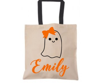 Halloween Trick or Treat Bag, Personalized Girl Ghost Halloween Tote Bag, Durable Canvas Tote Bag, Black Halloween Bag, Candy Collector