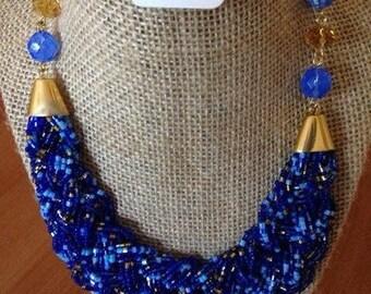 Beaded cobalt necklace