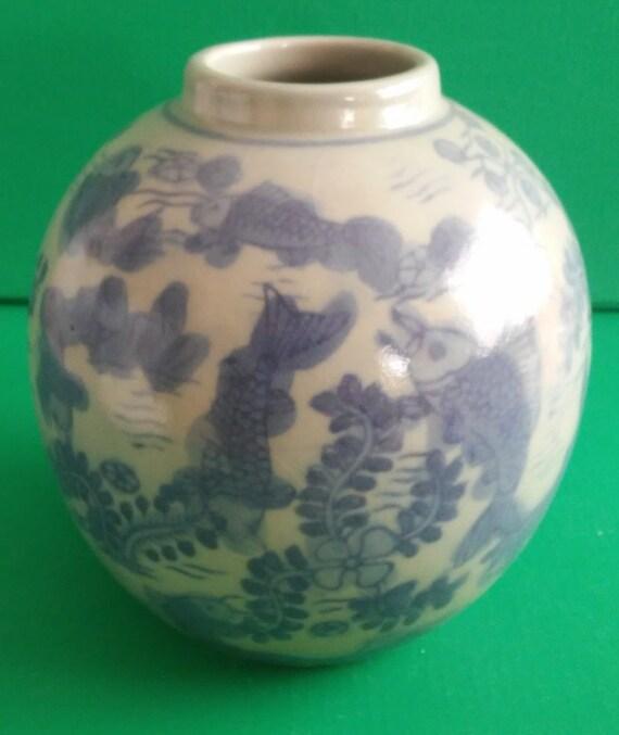Vintage asian melon jar vase fish koi carp glazed painted for Koi fish vase