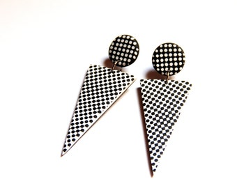 Geometric jewelry Triangle earrings Design earrings Spike jewelry Fashion earrings Edgy jewelry Black and white Big earrings Arrow earrings