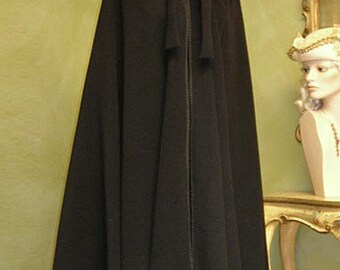 Black Wool Cape for Women with Hood - Black Cloak, Handmade in Venice, Italy - Very Warm M01