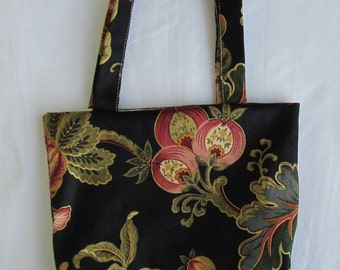Small Tote/ Hostess Gift Bag- Black Floral