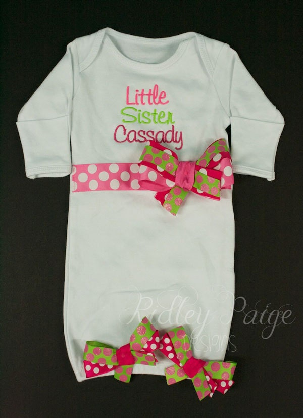 Little Sister Layette Gown, Personalize Little Sister Outfit ...
