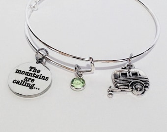 Camping Jewelry, The Mountains Are Calling, Camping Gift RV Outdoorsy Gifts for Women, Happy Camper, Camping Bracelet Charm, Trailer Jewelry