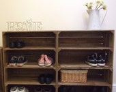 4 x Shabby Chic Wooden Shoe Racks Rustic Vintage Shoe  Display Shelf Apple Crate Shoe Storage