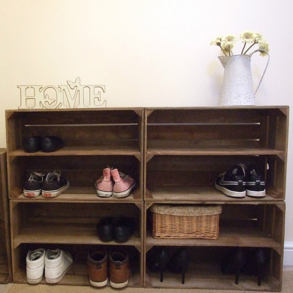 4 X Shabby Chic Wooden Shoe Racks Rustic Vintage Shoe