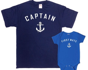 Father Son Matching Shirts Father And Baby Gift Daddy Daughter Shirts Matching Family T Shirts Captain And First Mate Bodysuit - SA227-228