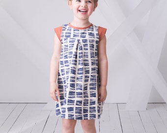 Girls Organic Cotton Dress, Toddler Dress with Cap Sleeves, Cantilever Dress, Sizes 12m-24m, 2t, 3t, 4t, 5, 6, 7, 8
