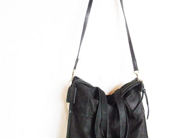 Black leather bag,  hand-stitched patchwork