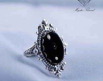 Black agate gothic victorian adjustable ring