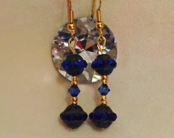 Gold and Royal Blue Glass Earrings