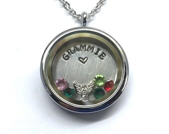 GRAMMIE - Customizable Floating Charm Locket -  Memory Locket - Custom Hand Stamped Gift for Mom
