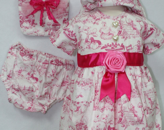 Baby girl Pink dress,Toddler Pink Sundress, Nursery Rhyme Pink Sun Dress, baby purse,Pink sun bonnet, Diaper cover, Baby girl Easter outfit