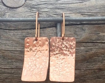 Hammered copper rectangle drop earrings, copper dangle earrings, copper drop earrings, hammered drop earrings handmade earrings gift for her