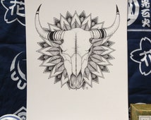 Buffalo skull with leaf mandala - PRINT A4