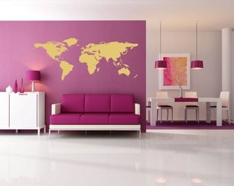 Vinyl world map wall decal large map wall mural map of the world map wall vinyl metallic gold or silver map of the world map of gumiabroncs Choice Image