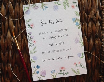 Delicate Floral Save the Date | Bespoke Wedding Stationery