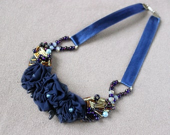 Birthday gift|for|women gift Dark blue necklace Collar necklace Shabby chic Wedding necklace Fabric flower jewelry Bead embroidery necklace