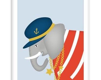Poster Sailor Elephant | Nautical  Poster | Wall Art Children+ Nursery | nautical wall art | scandinavian style