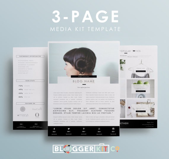 three page media kit template press kit template by bloggerkitco. Black Bedroom Furniture Sets. Home Design Ideas