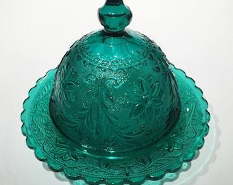 Tiara Teal Blue Sandwich Glass Butter Dish, Butter Dome, Indiana Glass Teal Blue Sandwich Glass Butter Dish or Cheese Dish, Butter Keeper