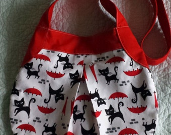 Handmade Cute Cat and Umbrella print handbag with bright red strap. One of a kind