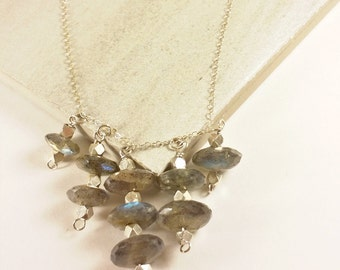 Labradorite Necklace - Dainty Statement Necklace - Modern Necklaces For Women - Yoga Jewelry For Women - The Charmed Nomad CN-009