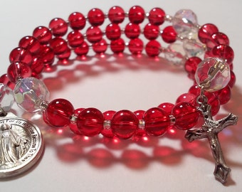 Red and Crystal Coil Rosary