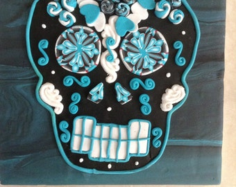 Midnight Day of the Dead Sugar Skull Wall Art Hanging
