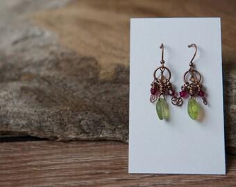 Leaf earrings, Czech glass jewelry, woodland earrings, nature earrings, earthy earrings, boho jewelry, green and copper earrings
