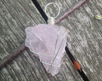 Rose Quartz with Silver Wire Wrapping