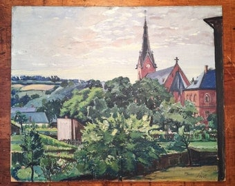 British Oil Painting on Board - Landscape and Church - Signed - Mystery Artist - 1932 - England