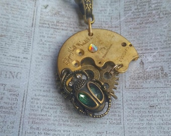 Antique 1884 Elgin Watchplate Scarab Steampunk Necklace, Scarab Necklace, Beetle Necklace, Insect Jewelry, Steampunk Beetle Necklace,