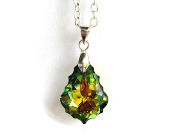 Swarovski Crystal Necklace, Baroque Crystal Pendant, Green Crystal Jewelry, Silver Plated Baroque Pendant, Sahara Swarovski Pendant