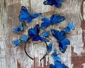 Wild Blue Yonder Butterfly Fascinator, Blue Derby Headpiece, Headdress, Crown, Statement, Surreal, Headband, Hat, Unique
