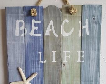 "Rustic, handmade ""Beach Life"" wall hanging"