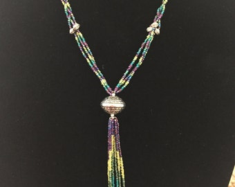 Necklace - 100% Hand-Beaded - Y Necklace - Peacock Colors - Native American