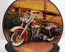 Vintage Plate, Official Harley Davidson Licensed Franklin Mint, 1958 Duo-Glide by Artist Dean Fleming, Motorcycle