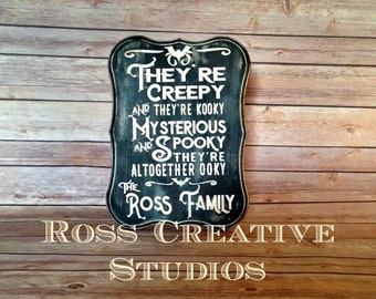 Addams Family Sign Personalized, Gothic Decor, Black home Decor, Bat Decor