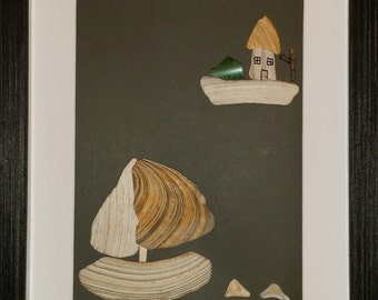 Sea shells  art, sailboat  sea shells art