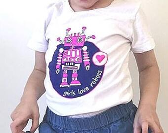 Girl Robot Shirt, Pink Robot, Girl Robot Party, Robot for Girls, Robot Party, Robot, Robot Shirt, Girls T Shirt, Girl Robot, Gift for Girl